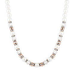 Jon Richard - Rose gold crystal and pearl beaded necklace