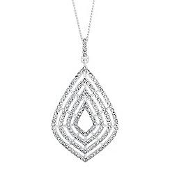 Jon Richard - Silver diamante gradient peardrop pendant necklace