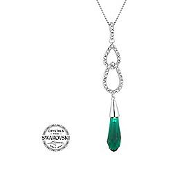 Jon Richard - Green briolette crystal silver pendant necklace MADE WITH SWAROVSKI CRYSTALS