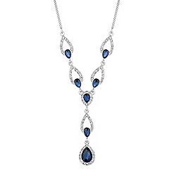 Alan Hannah Devoted - Designer blue crystal peardrop silver y necklace