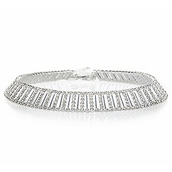 Jon Richard - Silver crystal link choker necklace