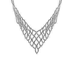 Jon Richard - Silver diamante weave v necklace