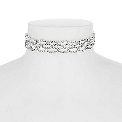 Jon Richard - Silver diamante weave choker necklace