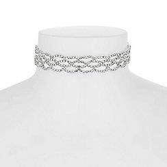 Jon Richard - Silver diamante weave choker necklace