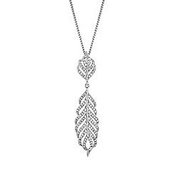 Jon Richard - Silver pave crystal feather necklace