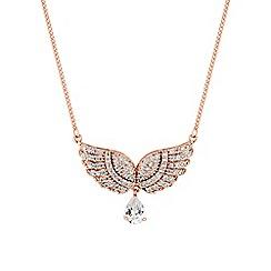 Jon Richard - Rose gold pave angel wing necklace