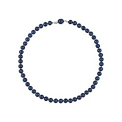 Jon Richard - Navy pearl necklace with oval clasp