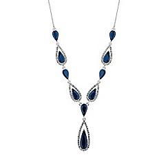 Jon Richard - Blue crystal elongated peardrop necklace