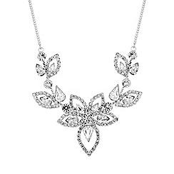 Jon Richard - Silver diamante floral necklace