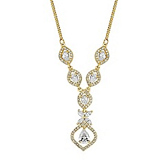 Alan Hannah Devoted - Gold cubic zirconia floral y necklace