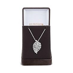 Jon Richard - Silver curved leaf necklace