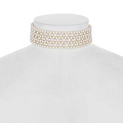 Jon Richard - Cream pearl woven choker necklace