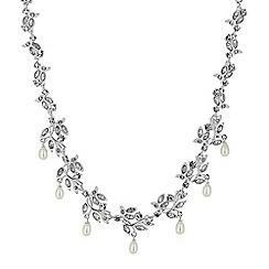 Alan Hannah Devoted - Designer leaf and pearl droplet necklace