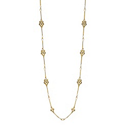 Alan Hannah Devoted - Designer gold filigree pearl long necklace