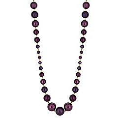 Jon Richard - Purple pearl graduated rope necklace