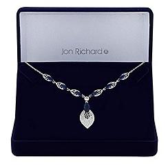 Jon Richard - Silver cubic zirconia filigree leaf necklace