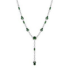Jon Richard - Green cubic zirconia delicate drop necklace