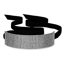 Jon Richard - Diamante multi row ribbon choker necklace