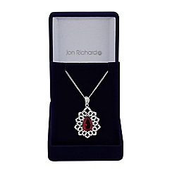 Jon Richard - Red cubic zirconia ornate necklace