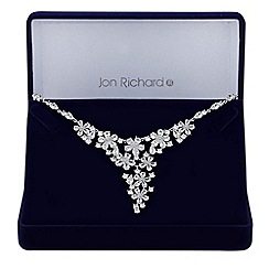 Jon Richard - Silver cubic zirconia floral cluster necklace