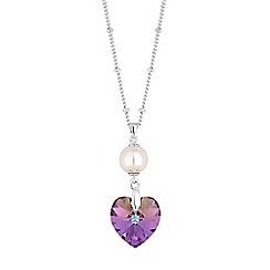 Jon Richard - Pearl and heart necklace created with swarovski crystals
