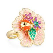 Coral ladybird enamel flower adjustable ring