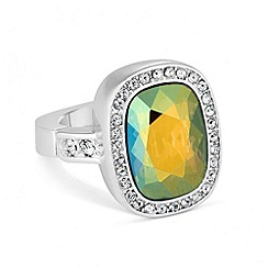Jon Richard - Iridescent green crystal stretch ring MADE WITH SWAROVSKI ELEMENTS