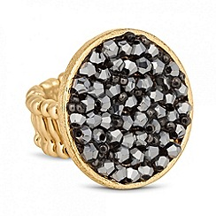 Jon Richard - Grey bead embellished circular stretch ring
