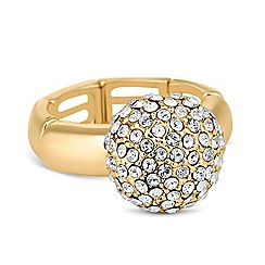 Jon Richard - Crystal embellished dome stretch ring MADE WITH SWAROVSKI ELEMENTS