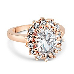 Jon Richard - Kate style cubic zirconia rose gold ring