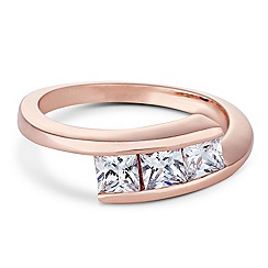 Jon Richard - Triple stone crossover rose gold ring