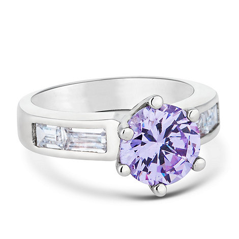 Jon Richard - Purple solitaire and baguette encased ring