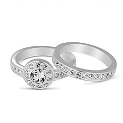 Jon Richard - Crystal engagement ring set MADE WITH SWAROVSKI ELEMENTS