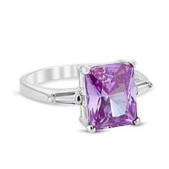 Jon Richard - Purple cubic zirconia and baguette stone ring