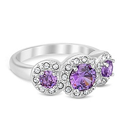Jon Richard - Triple purple cubic zirconia surround ring