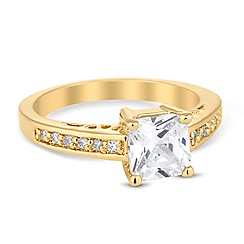 Jon Richard - Square cubic zirconia clasped gold ring