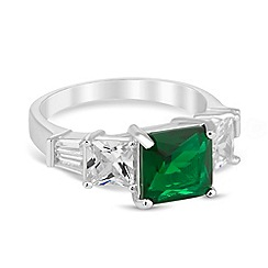 Jon Richard - Green clasped crystal surround ring