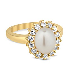 Jon Richard - Pearl and cubic zirconia surround kate ring