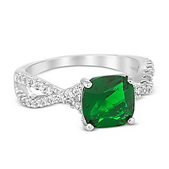 Jon Richard - Green cubic zirconia crystal twist ring
