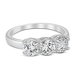 Jon Richard - Round cubic zirconia trio set ring