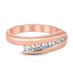 Jon Richard - Cubic zirconia encased rose gold crossover ring