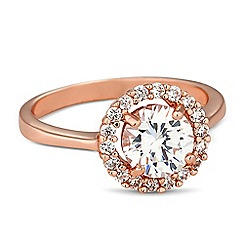 Jon Richard - Rose gold round cubic zirconia surround ring
