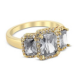 Jon Richard - Triple grey cubic zirconia crystal surround ring