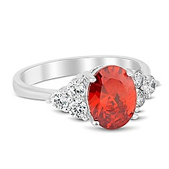 Jon Richard - Oval red cubic zirconia surround ring