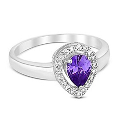 Jon Richard - Purple cubic zirconia peardrop surround ring
