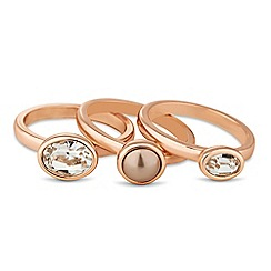 Jon Richard - Pearl crystal rose gold stacker ring MADE WITH SWAROVSKI ELEMENTS