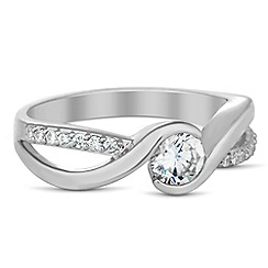 Jon Richard - Round cubic zirconia embellished band ring