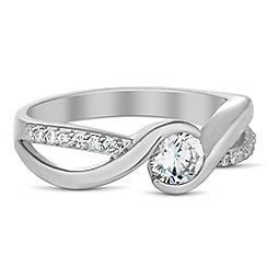 Jon Richard - Round cubic zirconia embellished band ring