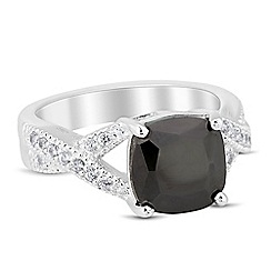 Jon Richard - Jet encased cubic zirconia crossover band ring
