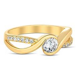 Jon Richard - Cubic zirconia encased gold twist ring